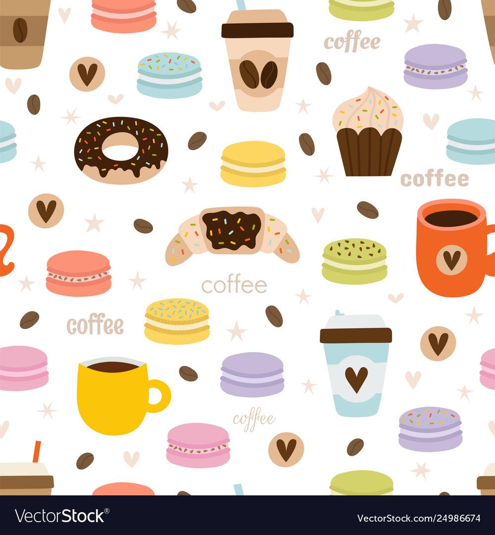 Hand drawn coffee seamless pattern set coffee