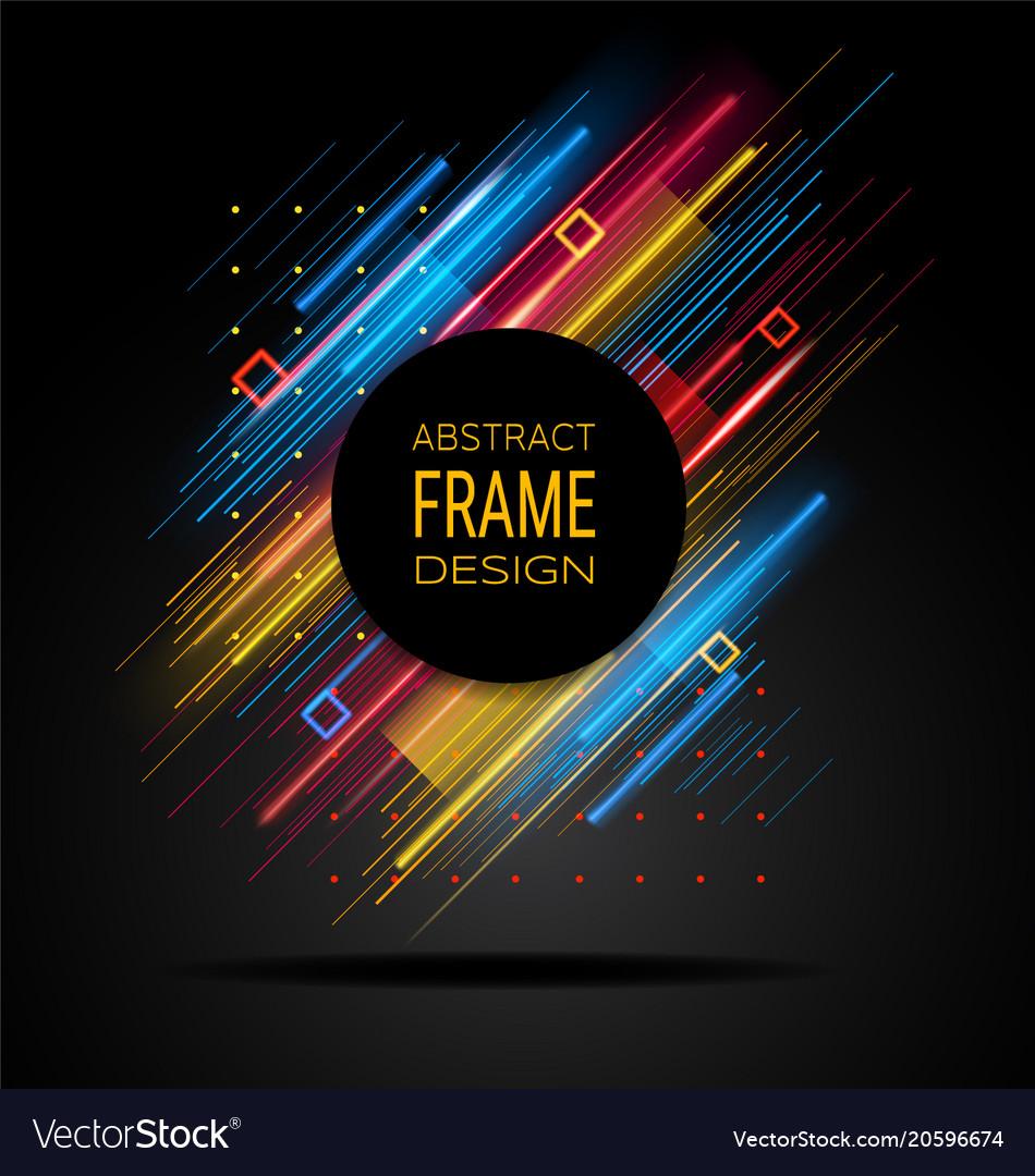 Modern frame with geometric neon glowing