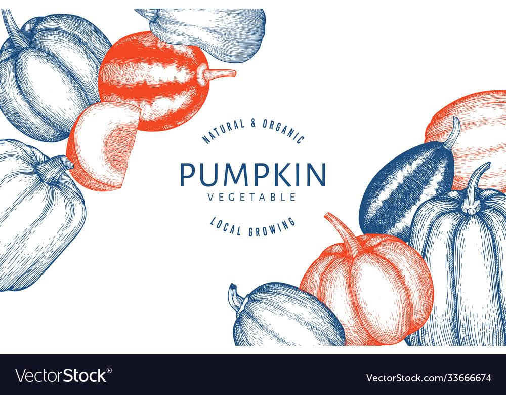 Pumpkin design template hand drawn thanksgiving