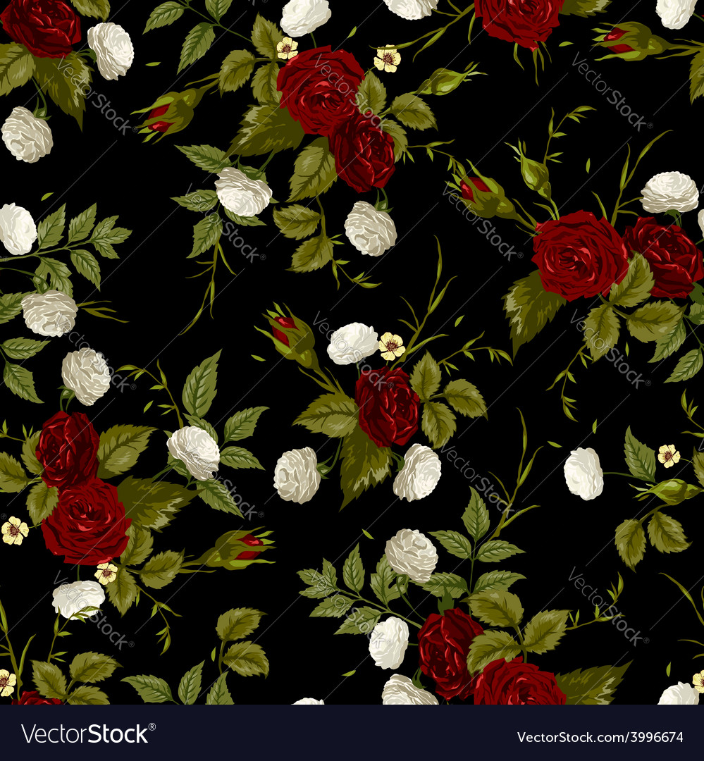 Seamless floral pattern with red and white roses