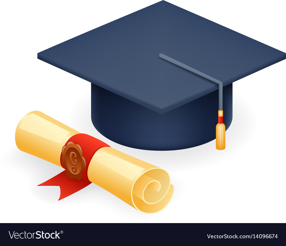 University Graduation Cap With Scroll Icon Student Vector Image