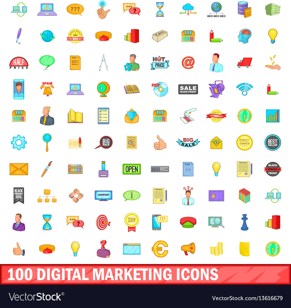 100 digital marketing icons set cartoon style