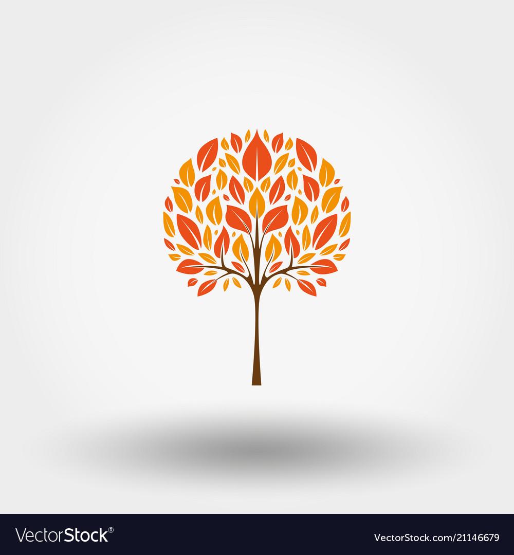 Autumn tree icon flat