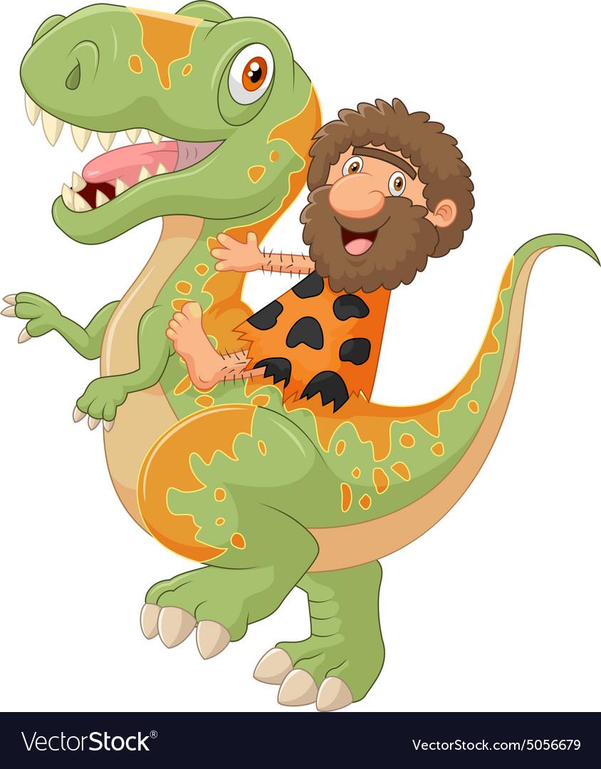 Carton caveman riding a dinosaur