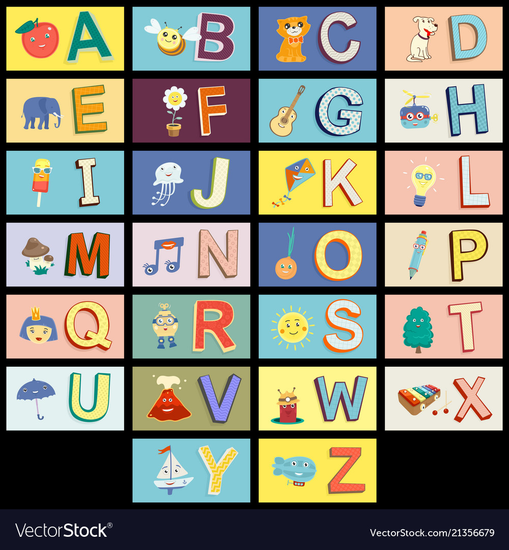 Cartoon kids alphabet