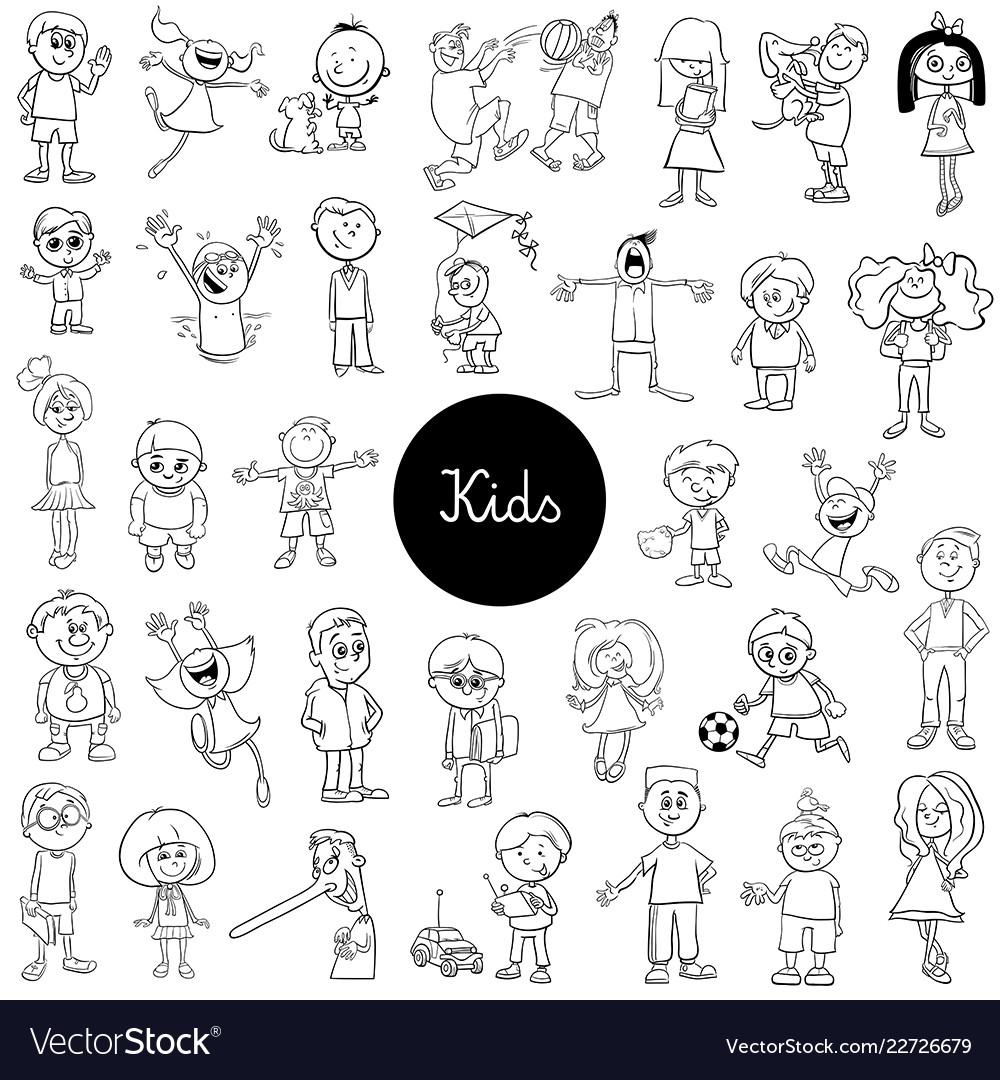 Cartoon kids black and white collection