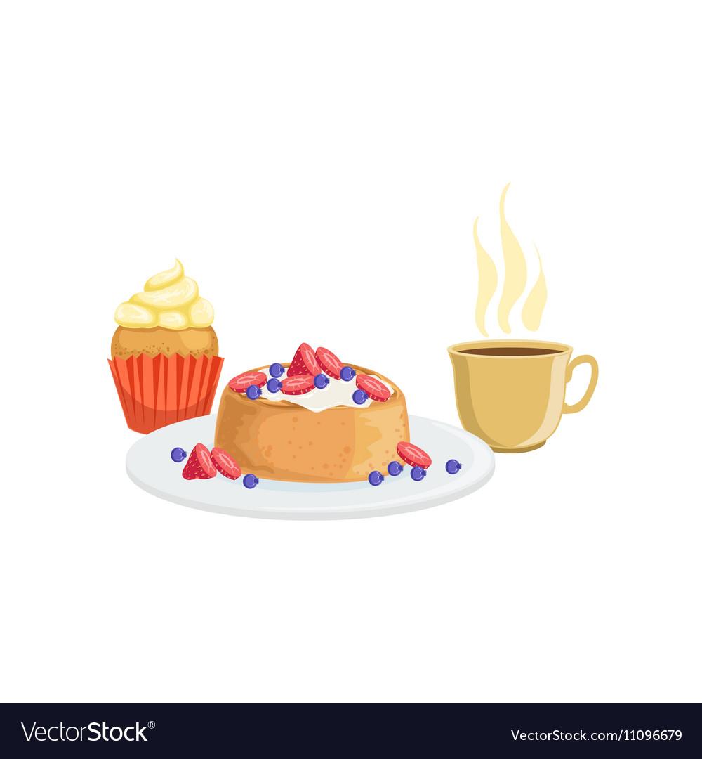 Cupcake Waffle And Coffee Breakfast Food Drink vector image