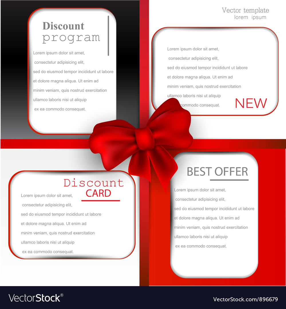 Discount card templates vector image