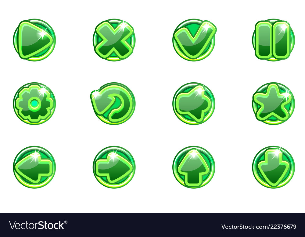 Green circles collection set glass buttons
