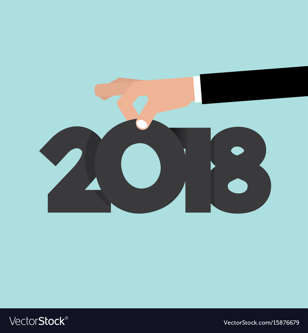 Hand pick up 2018 vector image