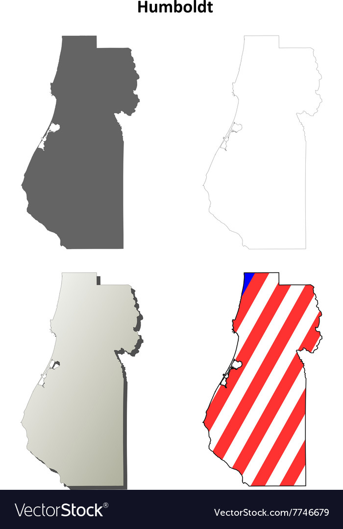 Humboldt County California Outline Map Set Vector Image