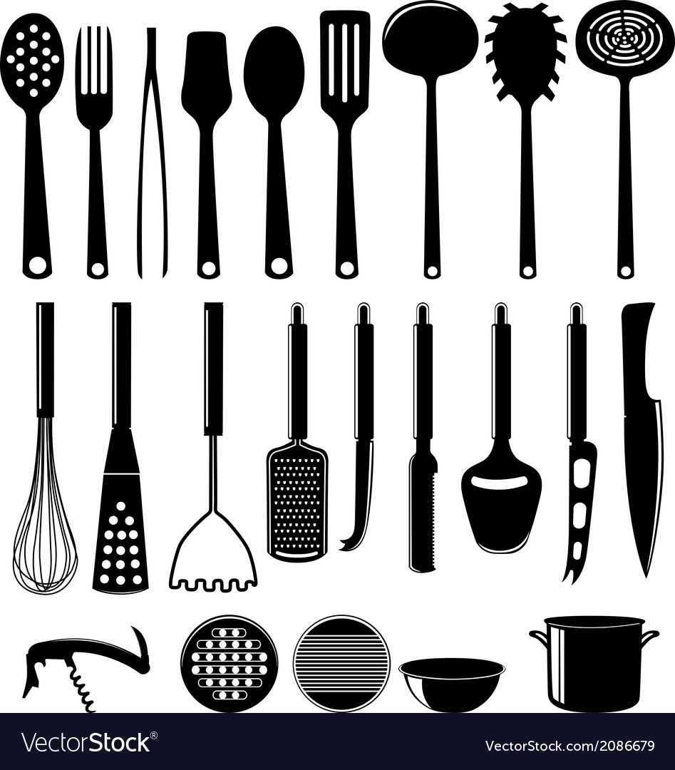 Kitchenware Icon Set Isolated On White
