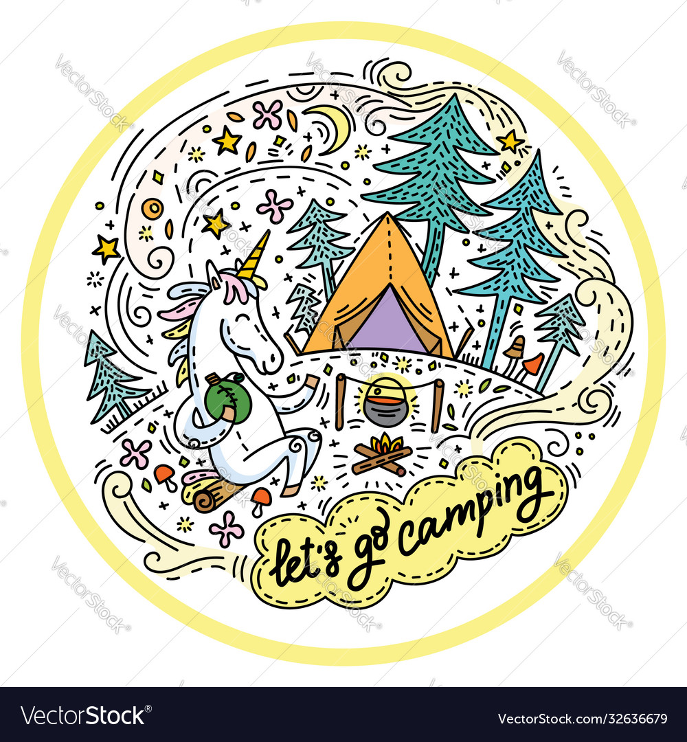 Lets go camping colorful unicorn