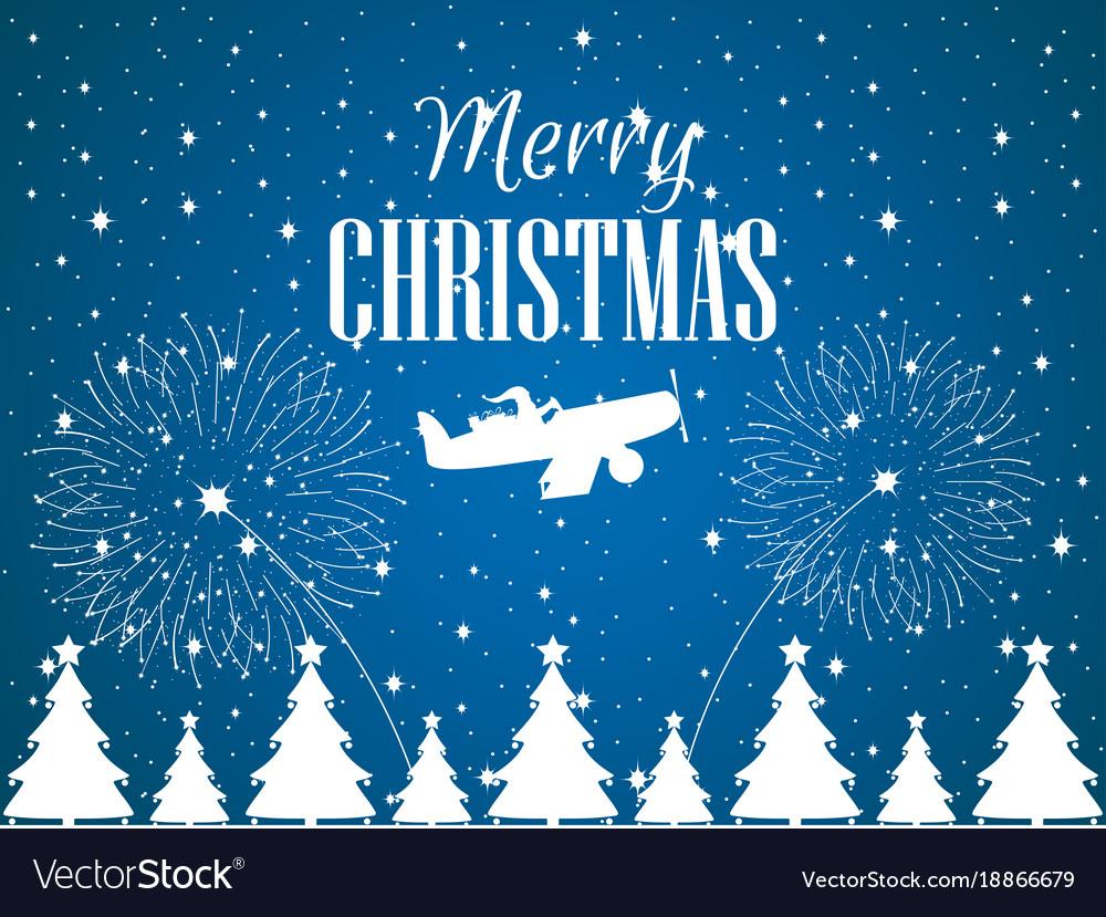 Merry christmas santa claus flies on an airplane