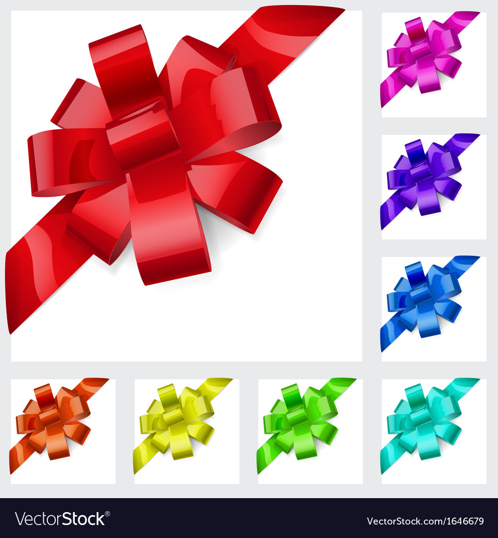 Multicolored bows of ribbon vector image