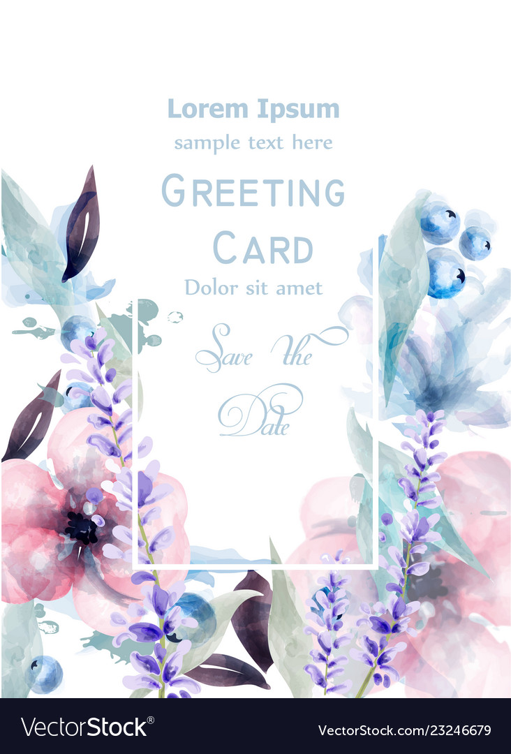 Pink and purple flowers watercolor card