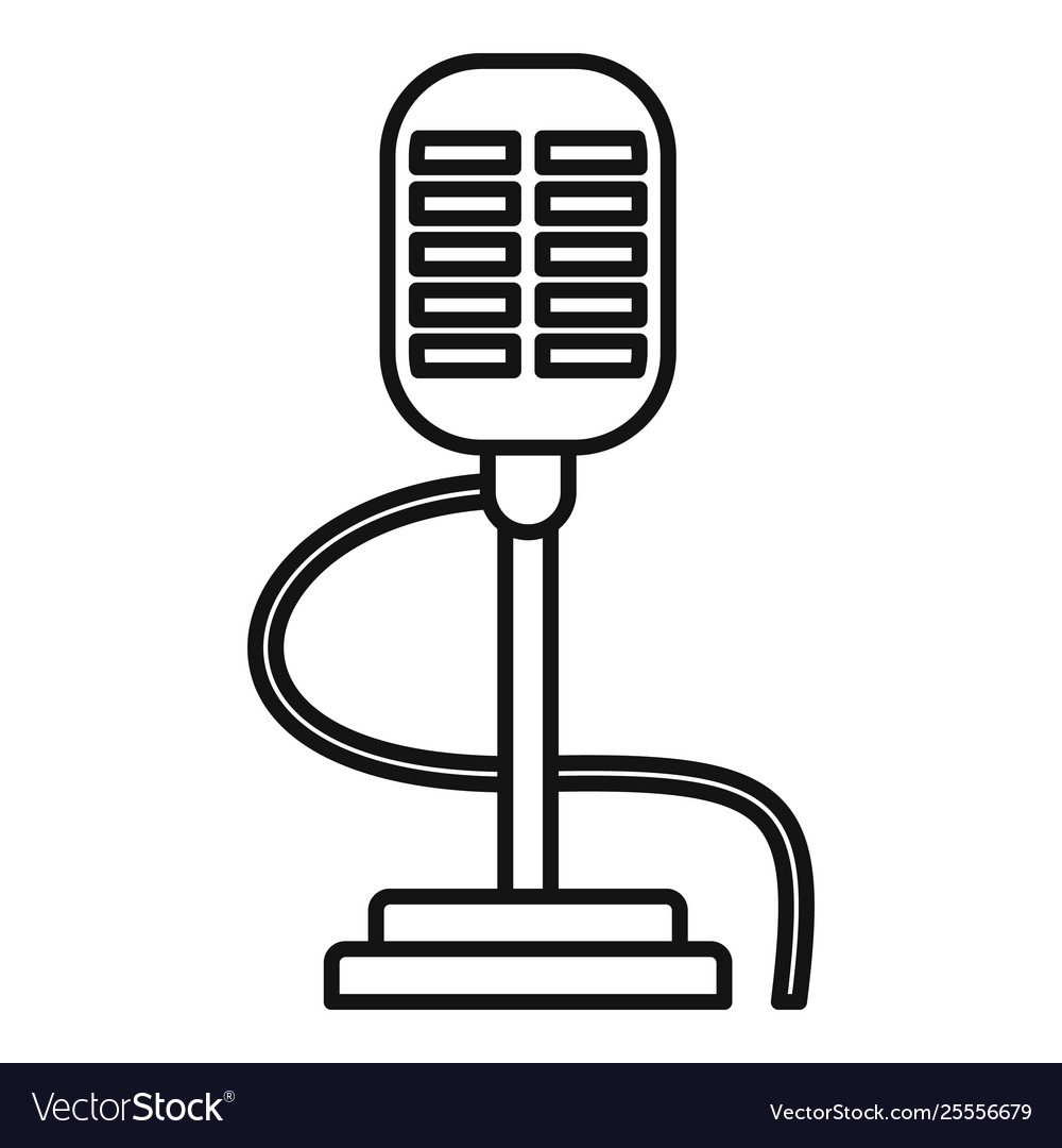 Old style vintage microphone icon on white Vector Image