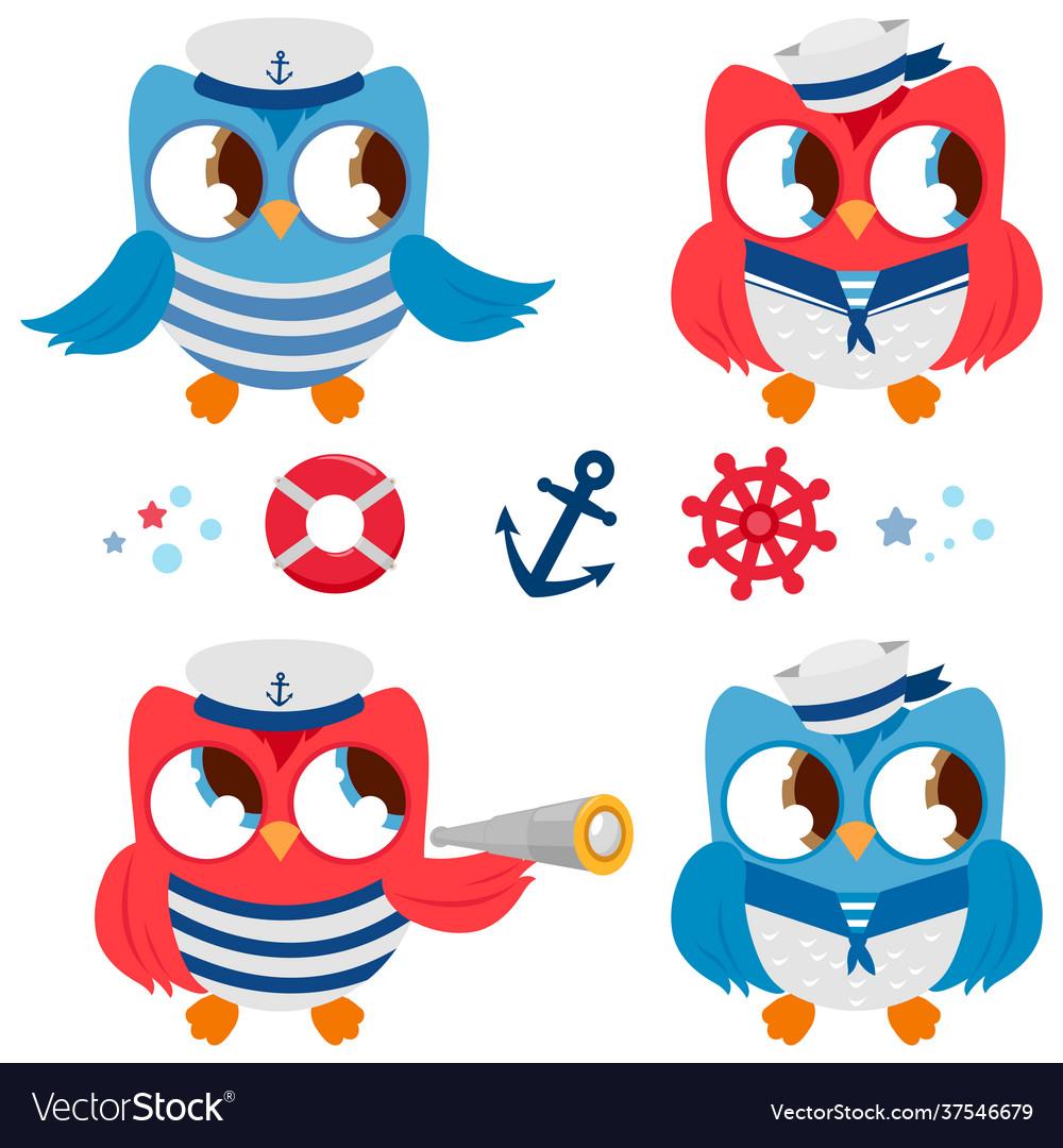 Sailor owls marine nautical set