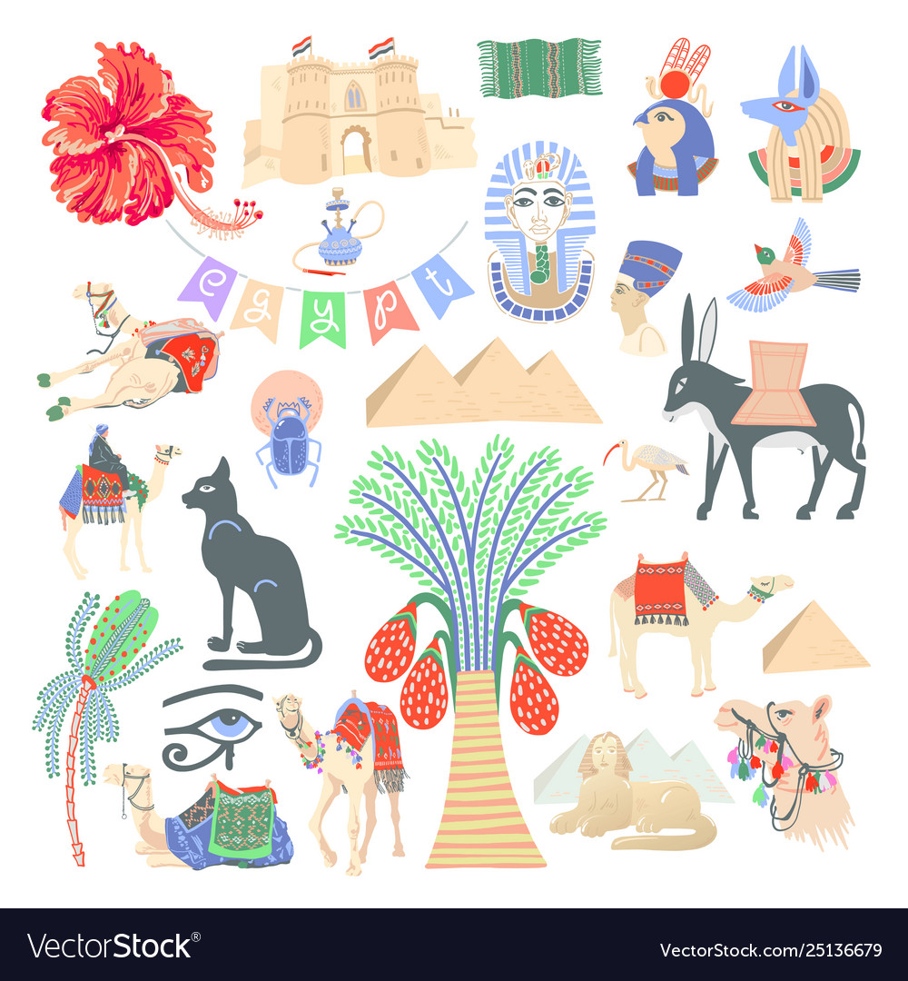 Set 26 hand drawing egyptian icon symbols in