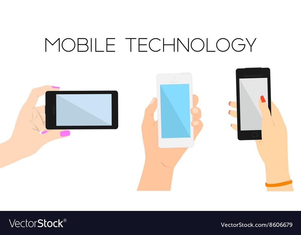 Set of three hands with phones