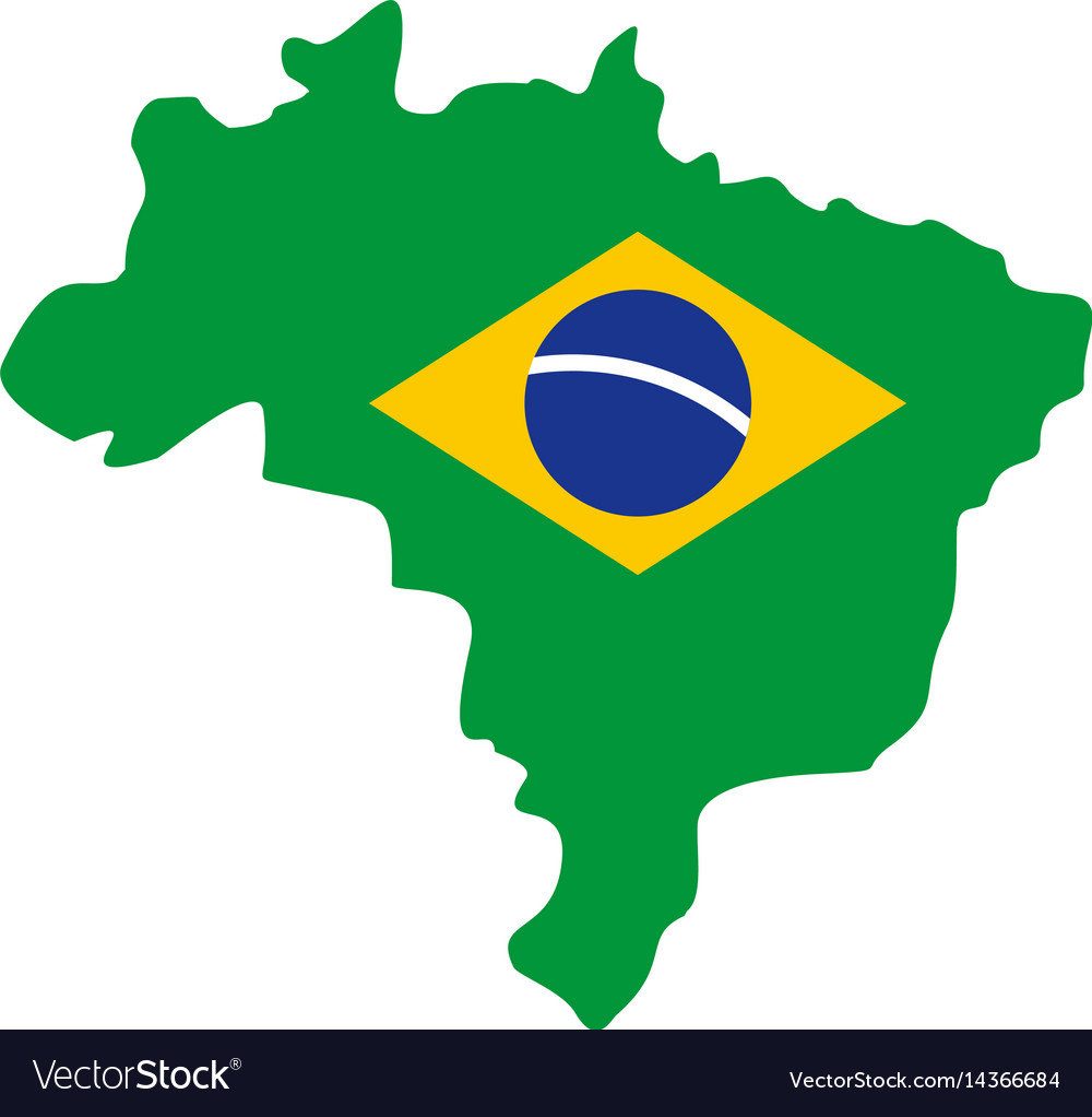 Brazil flag on brazilian map icon isolated