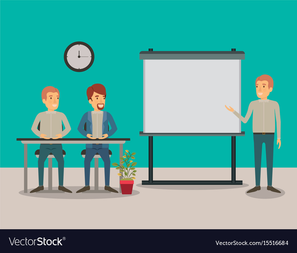 Color background couple of man sitting in a desk vector image
