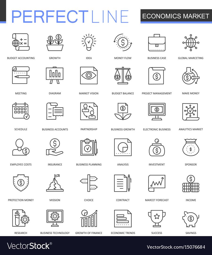 Economics market thin line web icons set outline
