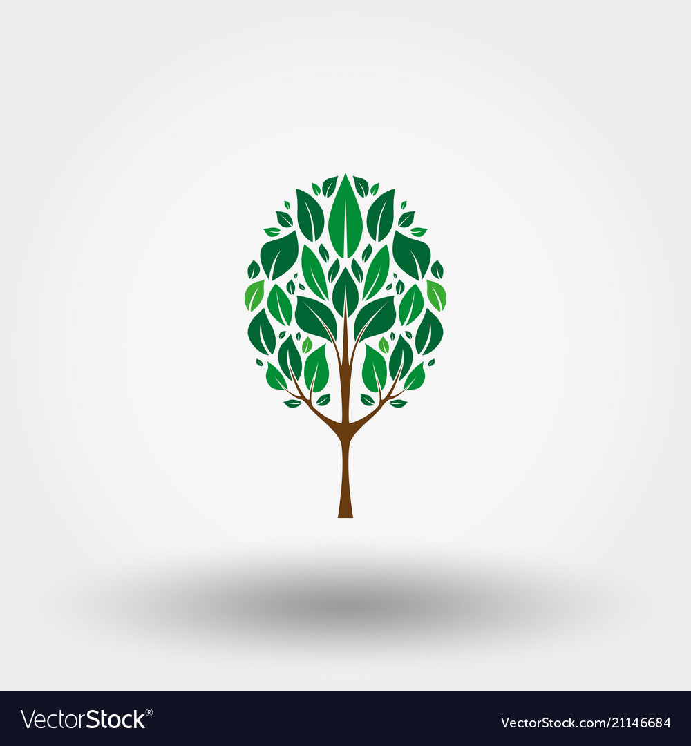 Green tree icon flat