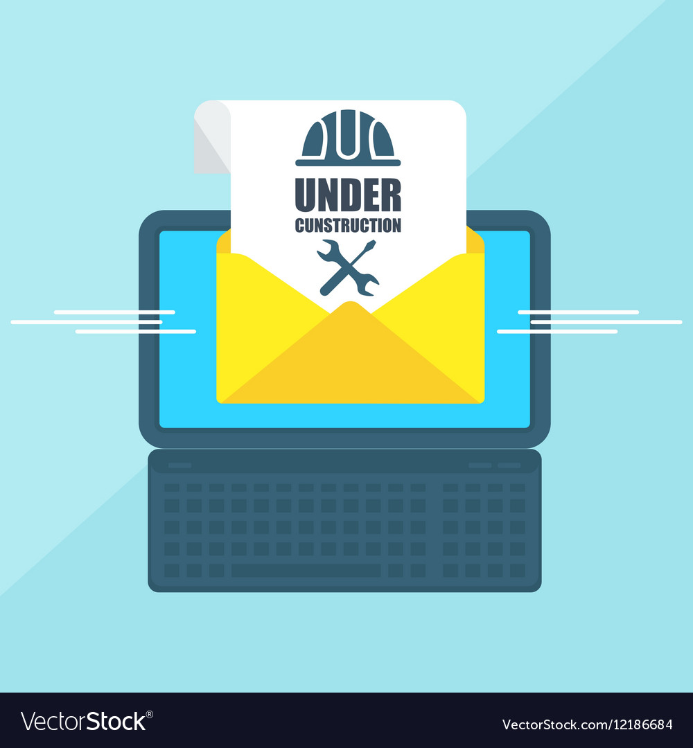 Laptop with envelope under vector image