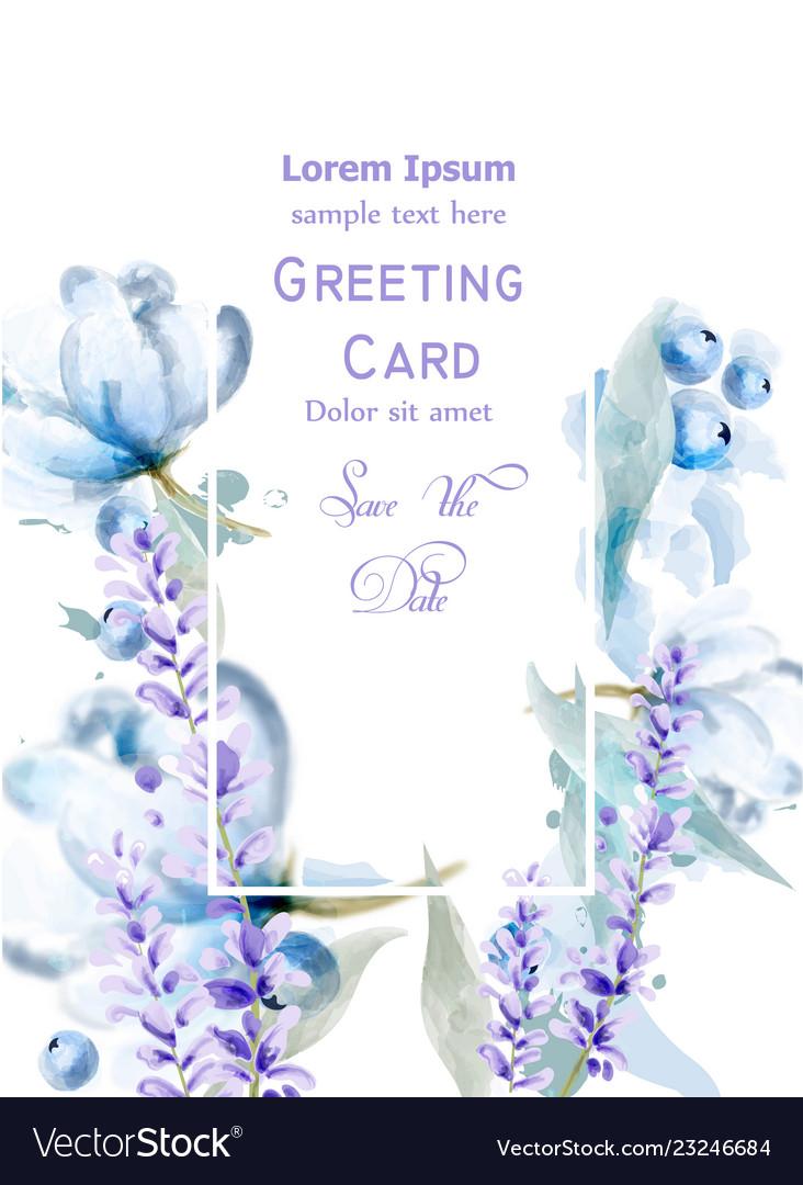 Lavemder flowers watercolor card delicate