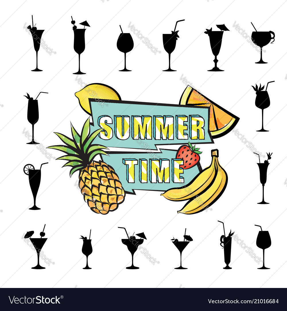 Summer party card background tropical fruit