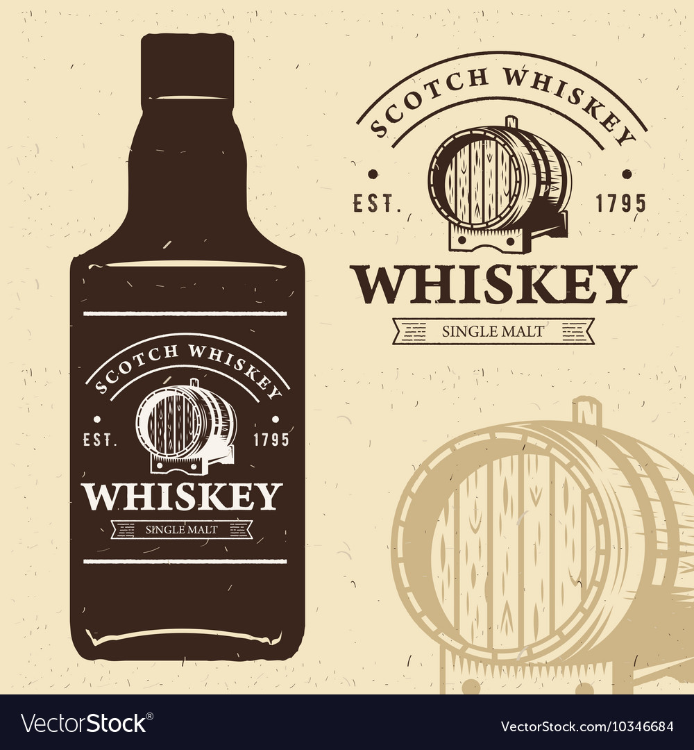 Typography monochrome vintage label with bottle vector image