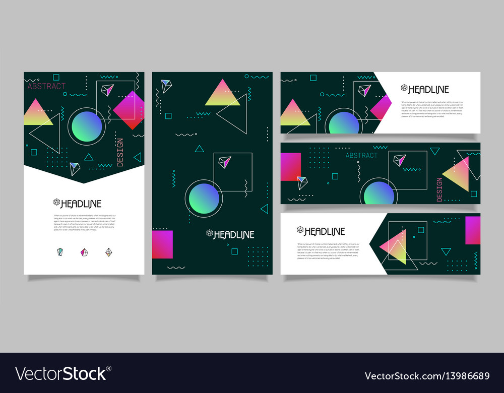 Abstract polygonal design banners and vector image