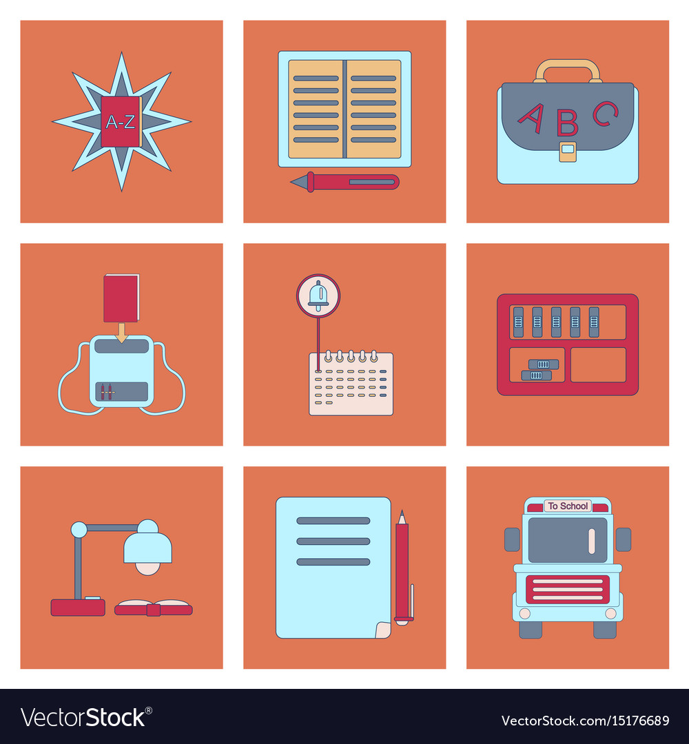 Assembly flat icons school supplies