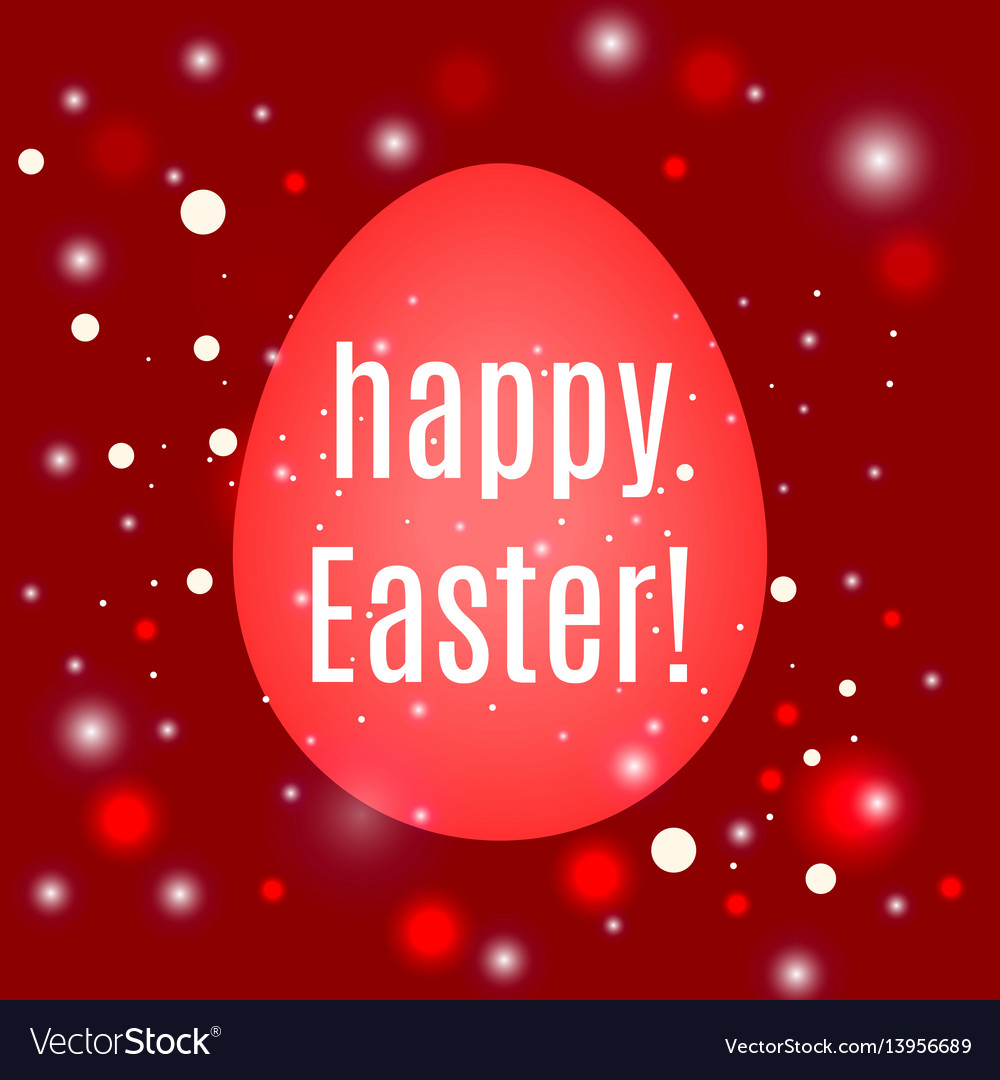 Beautiful easter egg on red background with glow