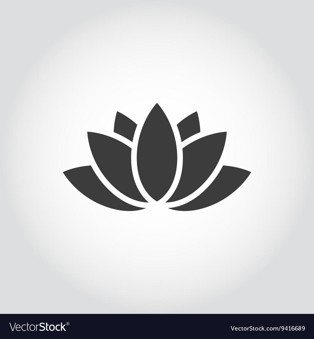 Black lotus icon on grey background vector image