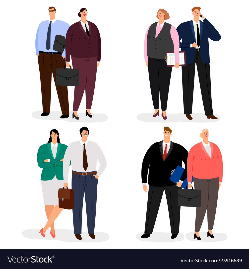 Business couple characters isolated on