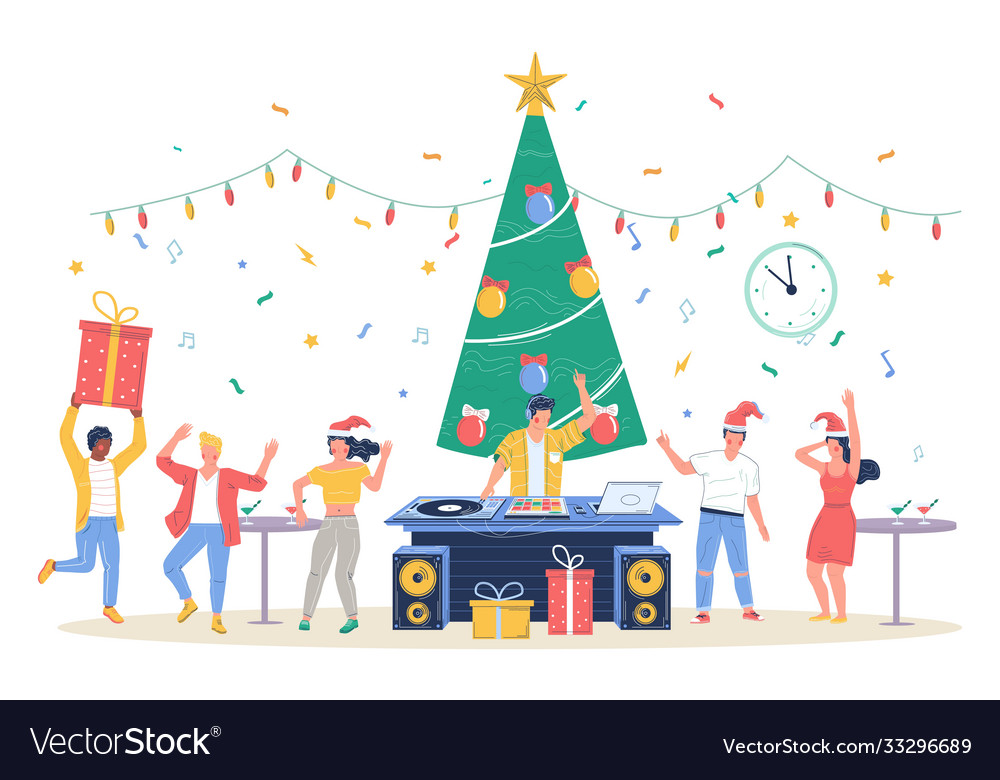 Happy business people celebrating merry christmas