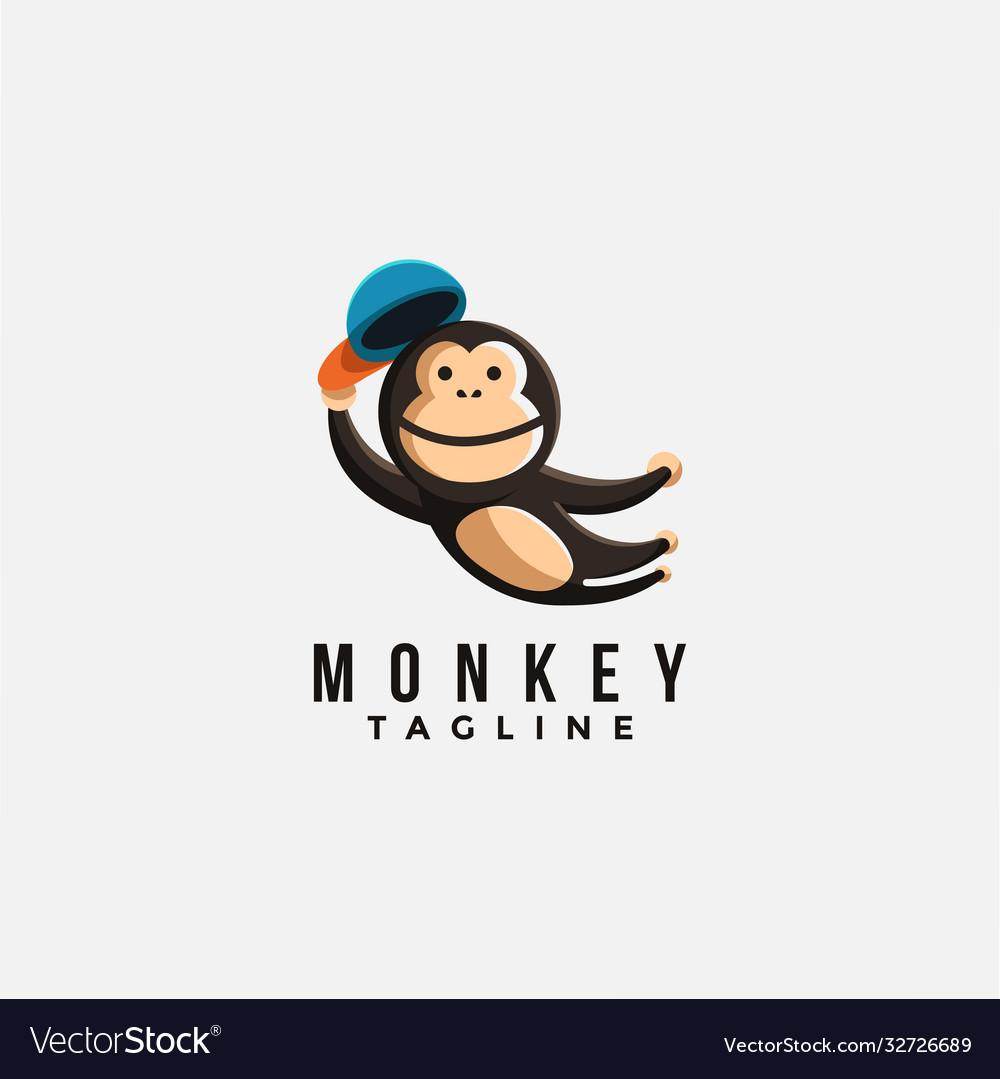 Mascot cartoon logo jumping monkey chimp