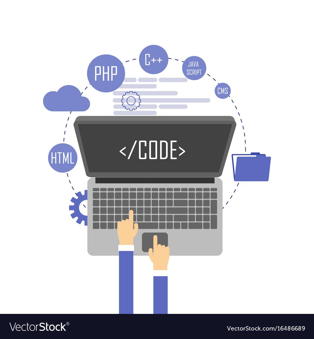 Programmer at computer desk working on program vector image