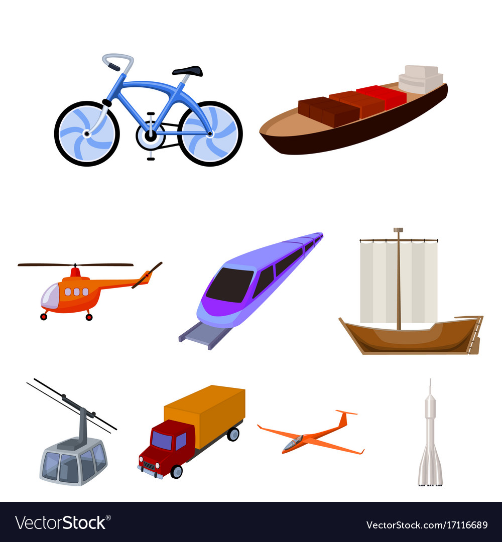 Set of pictures about types of transport