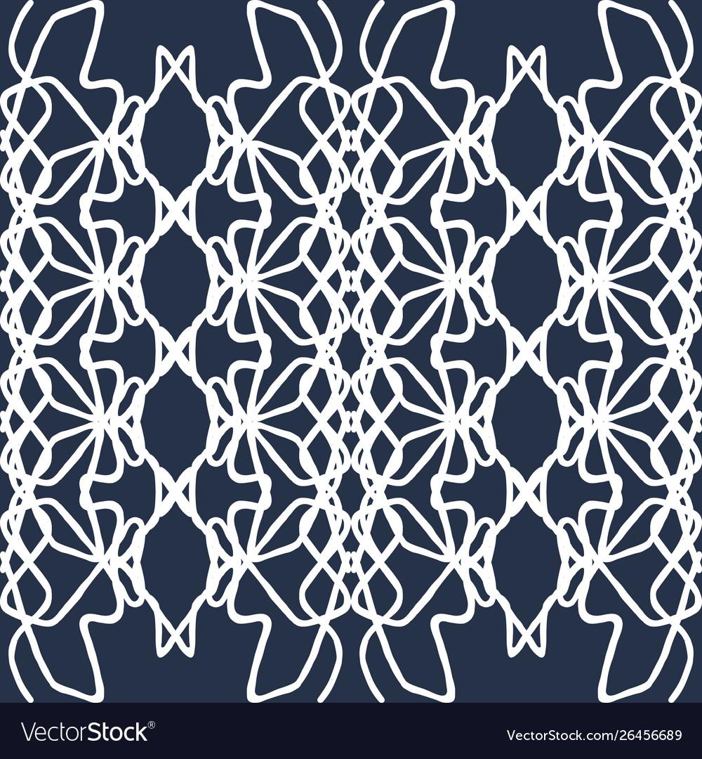 Thin white lines vintage seamless pattern