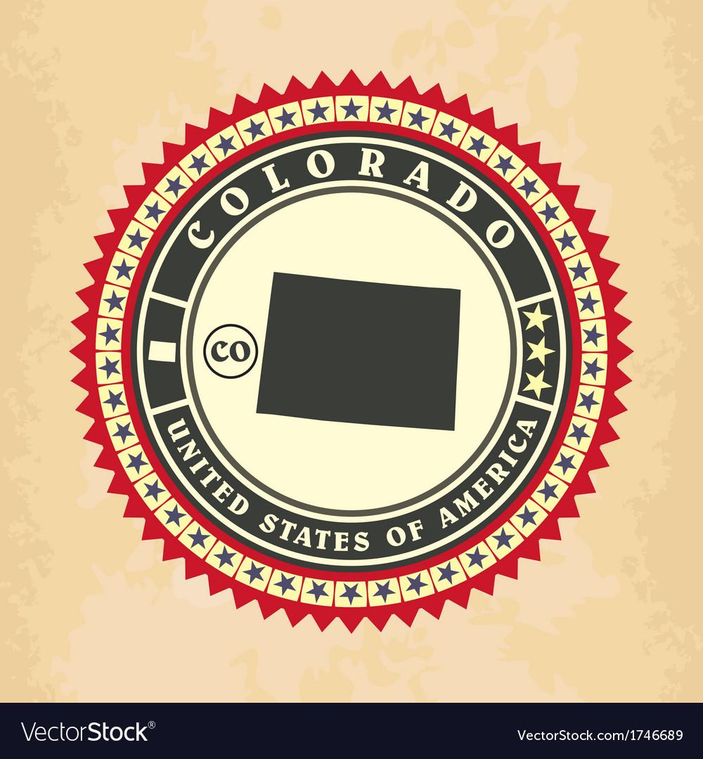 Vintage label-sticker cards of Colorado