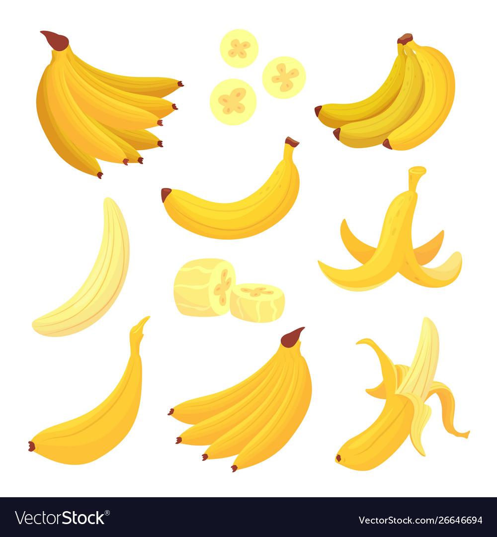 Banana fruit set healthy tropical yellow food