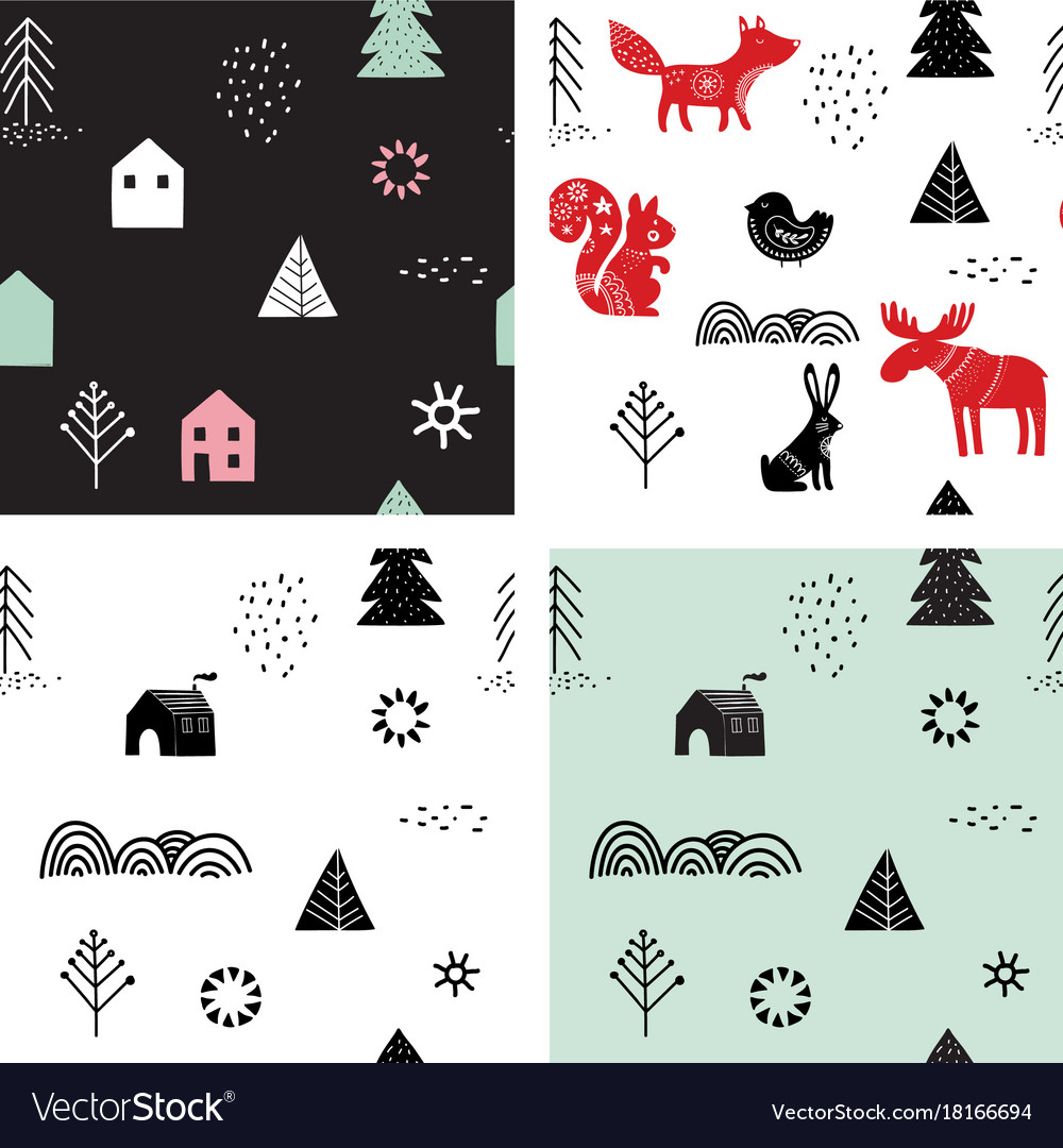 Christmas winter seamless patterns set