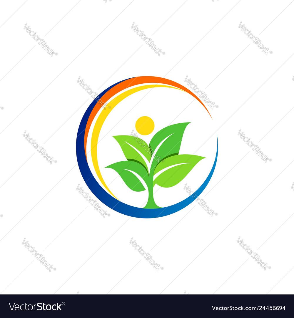Circle nature tree logo symbol icon design