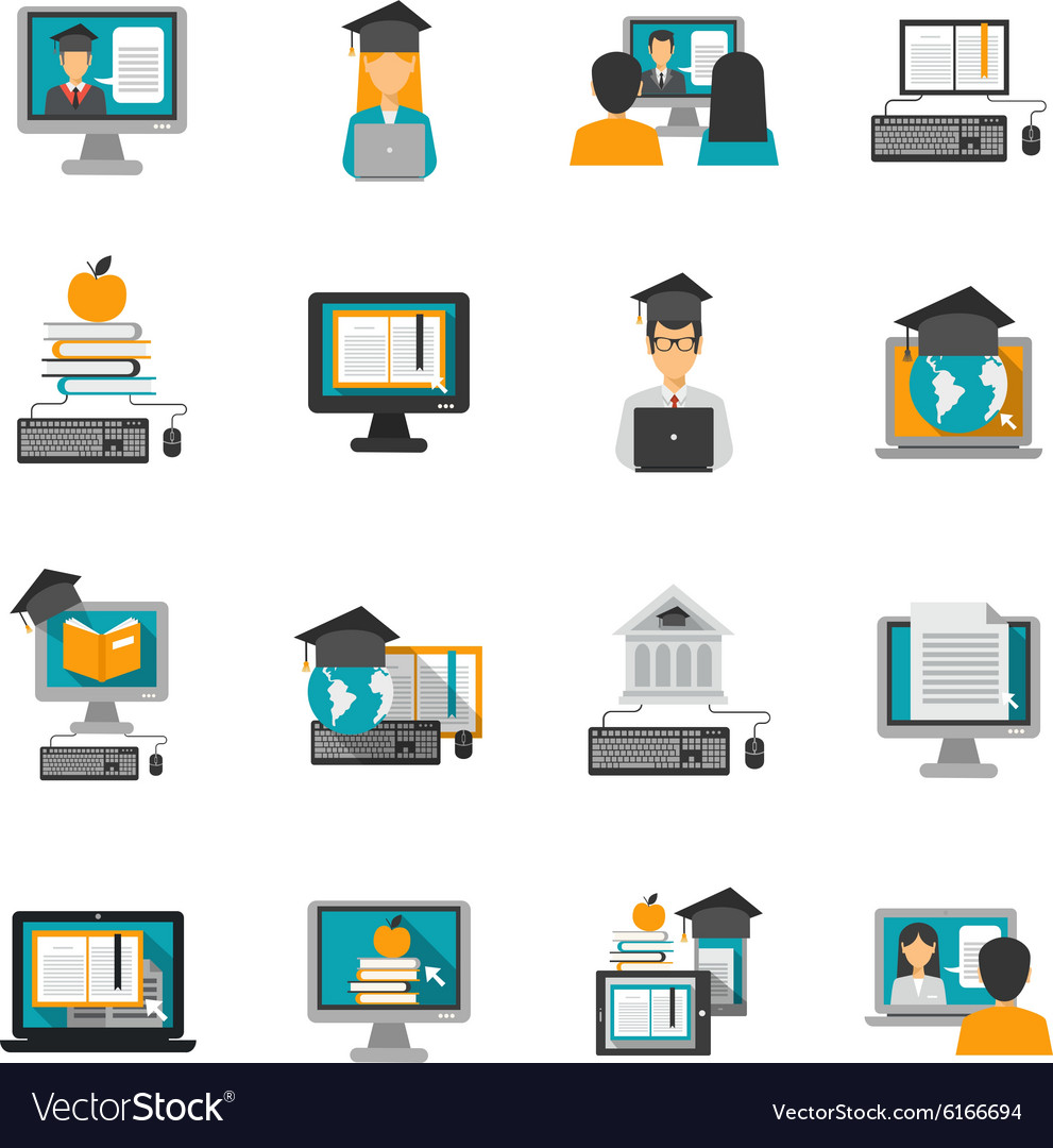 E Learning Icons Flat Set Royalty Free Vector Image