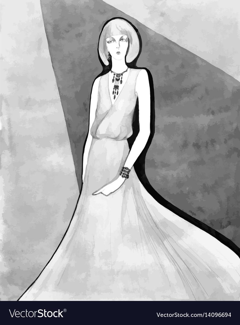 Elegant lady vintage llustration