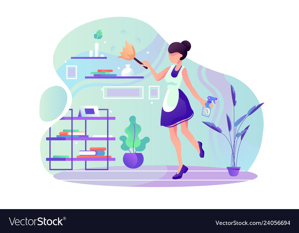 Flat young woman maid at room cleaning service