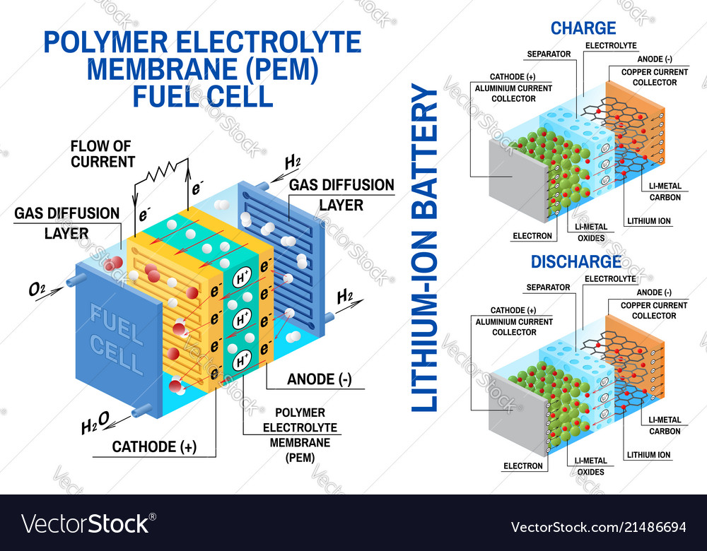Fuel Cell And Li Ion Battery Diagram Royalty Free Vector